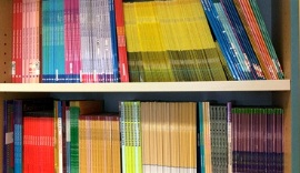 Shelves full of colourful books