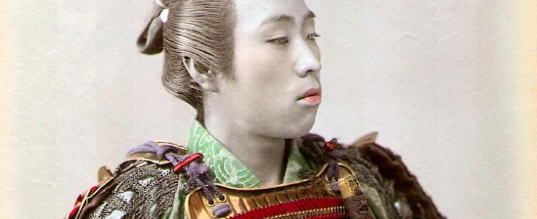Japanese samurai, hand coloured albumen, circa 1890