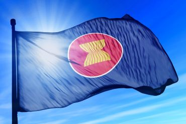 ASEAN flag waving on the wind-370