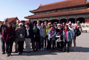 Teachers gather at a temple in China whilst on an Overseas Study Programme