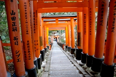 Walkway in Japan decorated with red columns