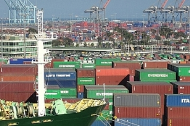 Ships, cranes and containers at a port