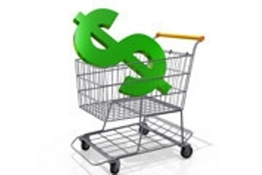 Cartoon of a dollar sign sitting in a shopping cart