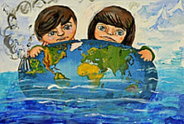A cartoon image of two children with a globe of the world
