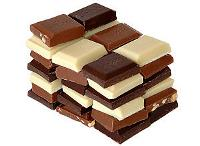 Different pieces of chocolate stacked