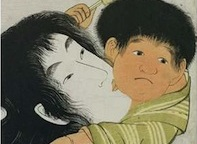 Colourful Japanese illustration of a mother carrying her son