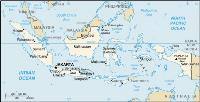 Map of Indonesia archipelago, including surrounding countries