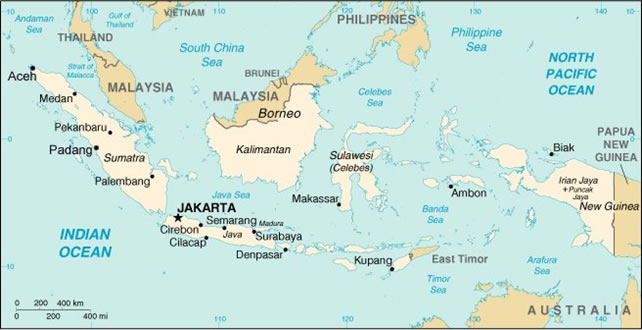 Map of Indonesia Archipelago, including surrounding countries.