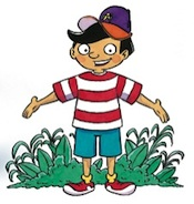 Cartoon Devon stands with his hands outstretched. He is wearing a red and white striped shirt and a baseball cap.