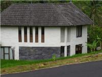 Devon's new home is a newly built two-story Indonesian house with a thatched roof.