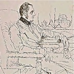 Sketched portrait of James Prinsep