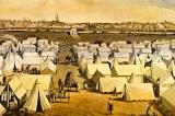 Drawing of a cartoon canvas town during the Gold Rush