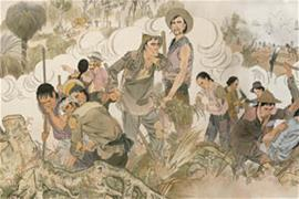 Drawing of Chinese workers in Australia on Harvest of Endurance scroll