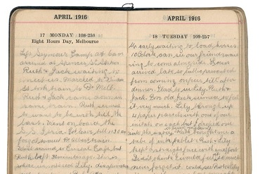Image of diary from April 1916 with both pages open