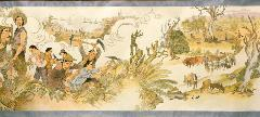 A part of the Harvest of Endurance scroll depicting Chinese farmers