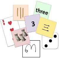 Various cards showing various ways that the number three can be depicted