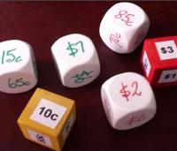 Dice with dollars and cents
