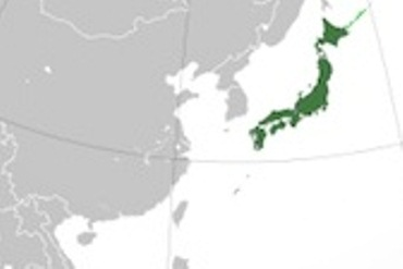 Small map of eastern Asia with Japan coloured green