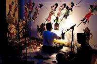 Wayang performance with puppeteer manipulating puppets behind a lighted curtain