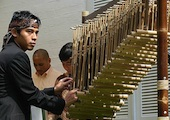 Indonesian angklung player