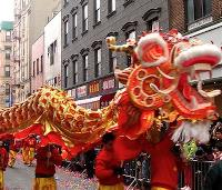 Chinese lions dancing in a Chinese New Year celebration in Yokohama, Japan
