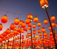 Orange lanterns are lit to celebrate the Lantern Festival