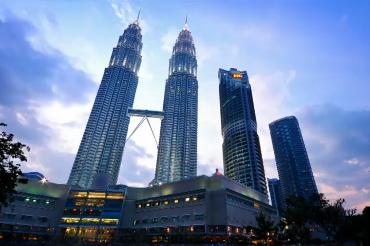 Malaysia's Petronas Towers at dusk